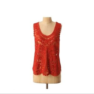 Anthropologie sheer embroidered red sleeveless top